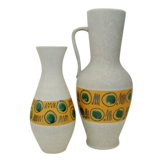 West German Ceramic Vases, Set of 2 For Sale