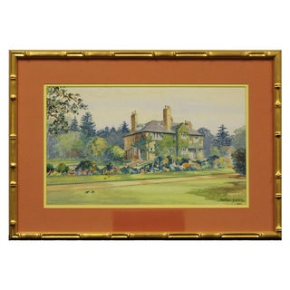 English Country Estate Watercolour Painting For Sale