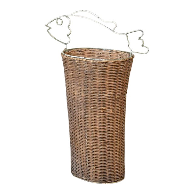 Frederick Weinberg Style Rattan Fish Basket For Sale