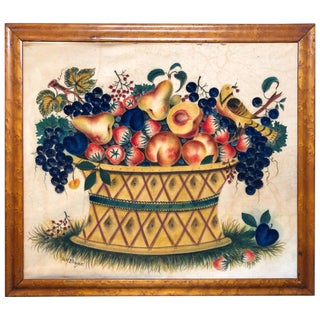 Theorem Watercolor on Velvet Large Basket Yellow Birds by David Y Ellinger For Sale