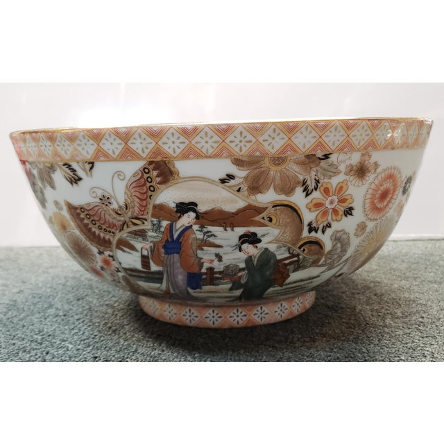 Vintage Circa 1970 Satsuma Style Porcelain Figural, Floral, and Butterfly Motifs Punch Bowl Made in China For Sale - Image 4 of 8
