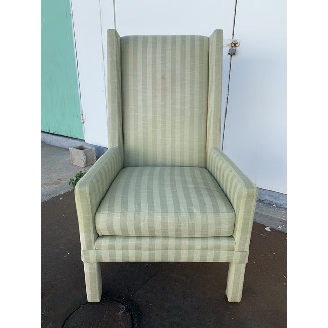 Postmodern Parson's Chair With X -Base Ottoman For Sale - Image 3 of 11