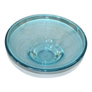 Modern Blue Art Glass Centerpiece, Bowl by Mark J. Sudduth, Studiopiece For Sale