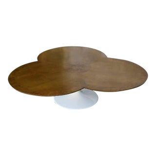 1960s Art Deco Lane Furniture Flower Top Burlwood Coffee Table