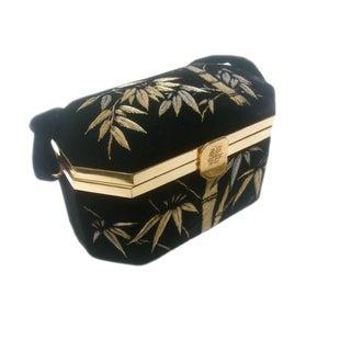 Asian Silk Embroidered Velvet Evening Bag For Sale
