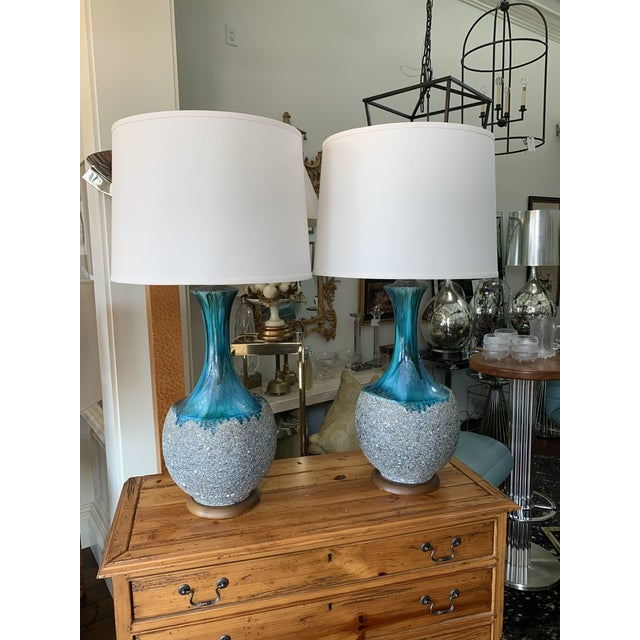 Blue Pair of Drip Glaze Mid Century Lamps For Sale - Image 8 of 8