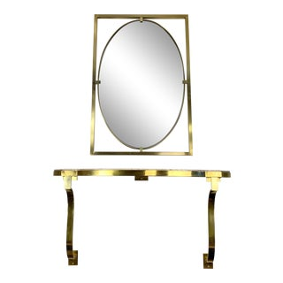 Mid-Century John Stuart Brass & Marble Hanging Entryway Shelf With Mirror For Sale