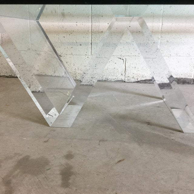 Charles Hollis Jones Cantilevered Glass & Lucite Coffee Table For Sale - Image 4 of 10