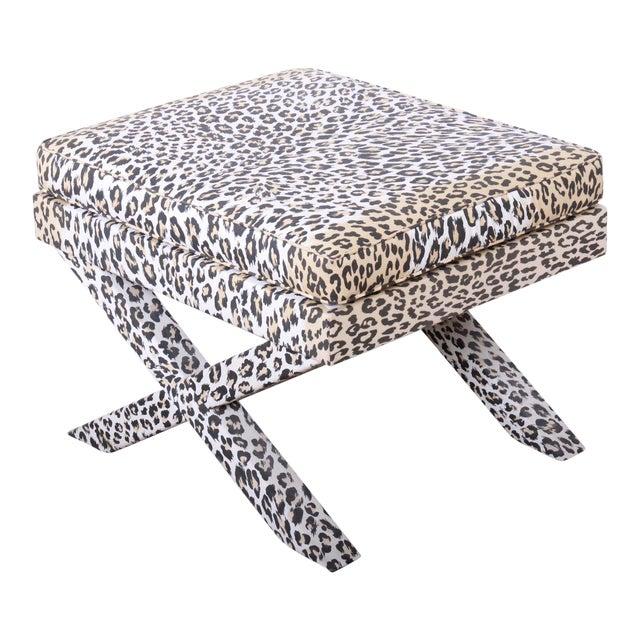 Patrick Frey X-Base Leopard Stool or Ottoman, Paris For Sale