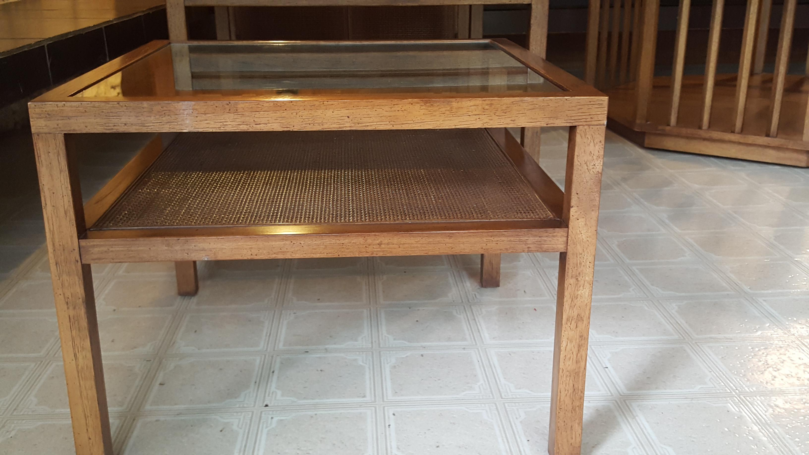 Mid Century Pecan Wood Tables   4 Pc. Set For Sale   Image 4