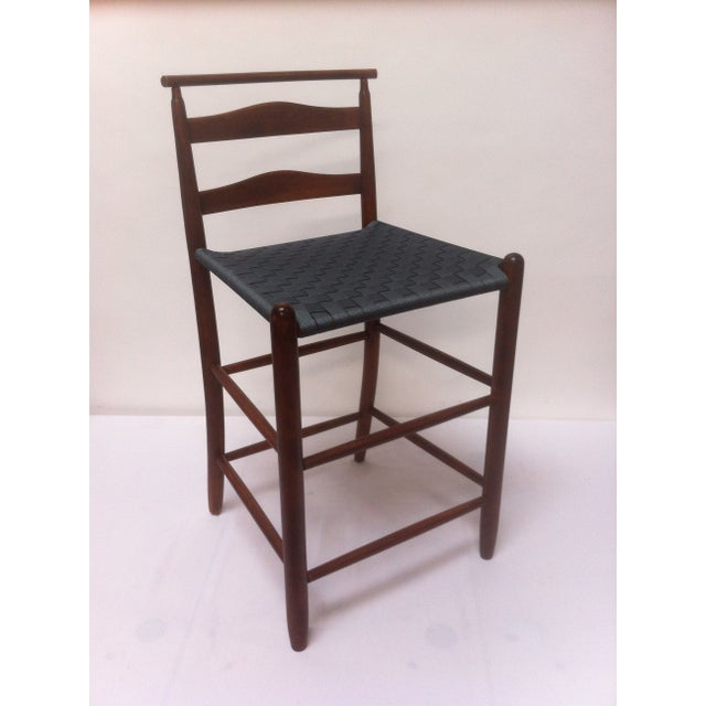 Mid-Century Modern Wood Bar Height Chair For Sale - Image 4 of 4