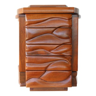 1970s Hand Made Solid Wood Jewelry Chest For Sale