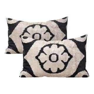 Allary Silk Velvet Ikat Pillows - A Pair