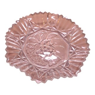 Crystal Diamond Cut Fruit Bowl For Sale
