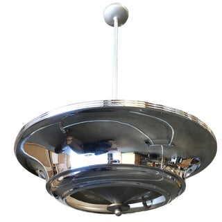 Art Deco Two Layer Chrome Saucer Ceiling Pendant Lamp For Sale
