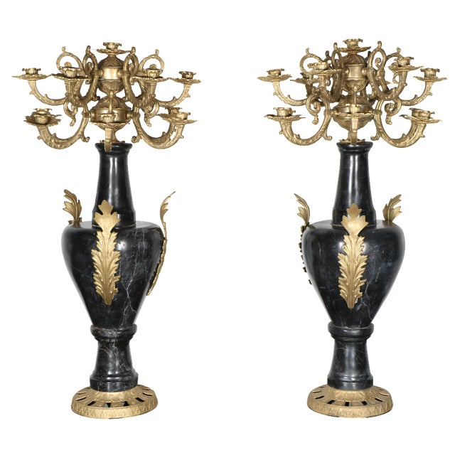 Marble and Brass Candelabras - A Pair - Image 1 of 5