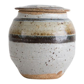 Hand Thrown Ceramic Lidded Vessel For Sale