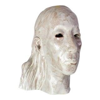 Pottery Glazed Ceramic Indian Head Sculpture Mask For Sale