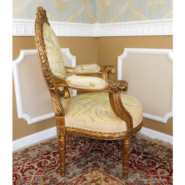 French Carved Giltwood Louis XVI Parlor Set - S/4 - Image 5 of 10
