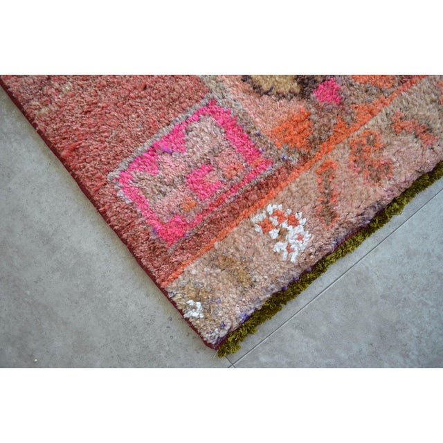 Textile Distressed Oushak Rug Runner - Hand Knotted Narrow Hallway Rug - 1′ 11″ × 12′ 2″ For Sale - Image 7 of 9