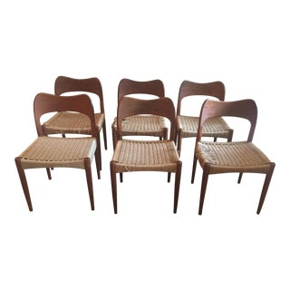 Arne Hovmand Olsen Mogens Kold Teak Rope/Cord Dining Chairs - Set of 6