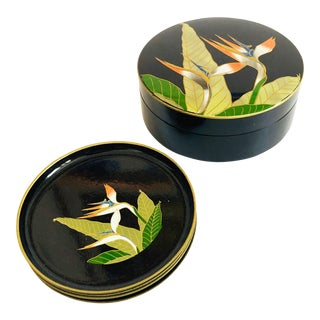 Vintage Bird of Paradise Lacquerware Coaster Set For Sale