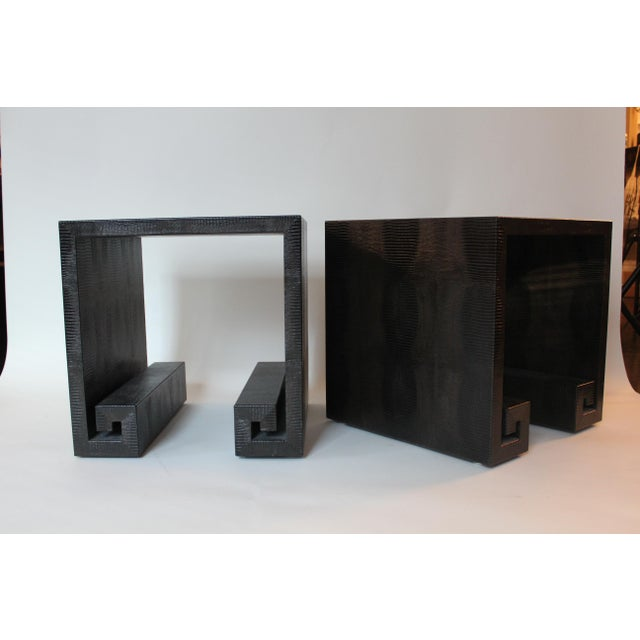 Modern Modern Embossed Leather Greek-Key End Tables - a Pair For Sale - Image 3 of 7