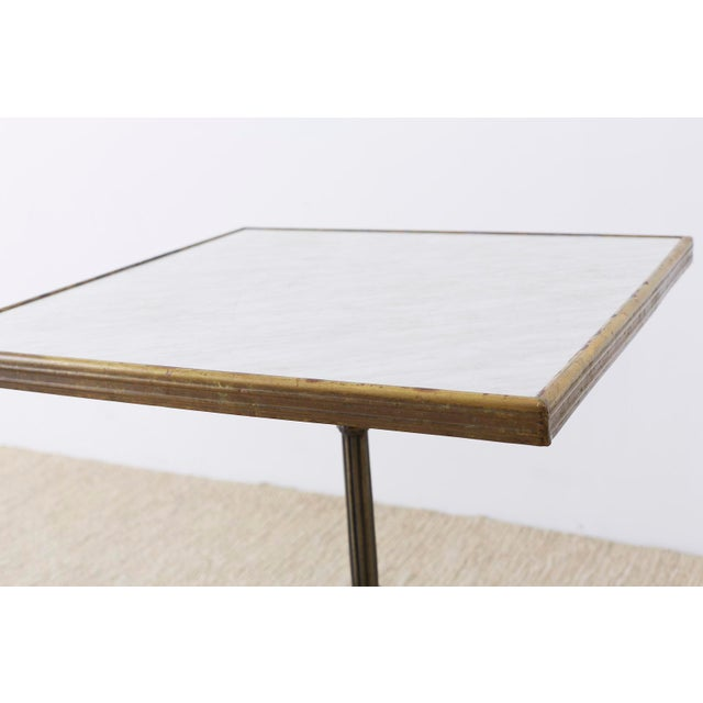 Mid 20th Century French Bronzed Iron and Faux Marble Bistro Table For Sale - Image 5 of 13