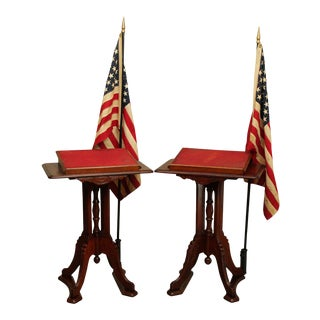 Antique Victorian Oak Patriotic Podiums, Lecterns with American Flags - a Pair For Sale