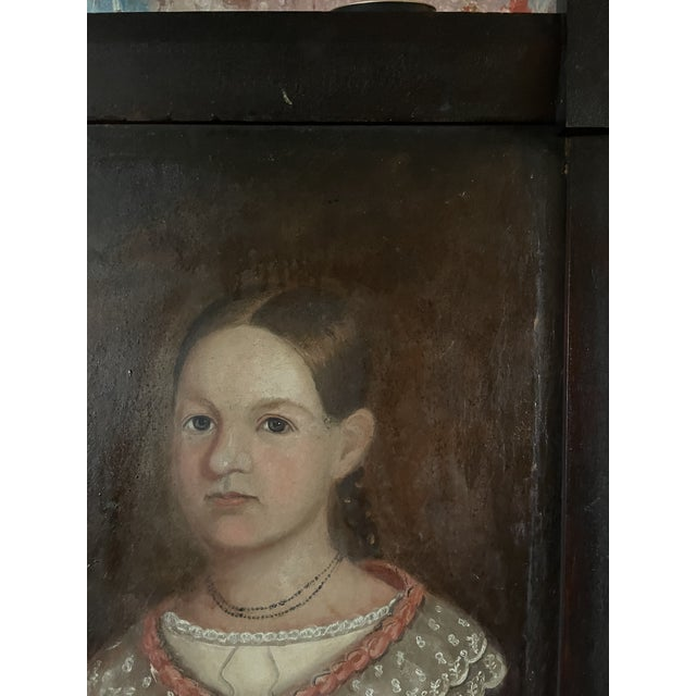 Wood Early 19th Century American Folk Art Portrait Oil Painting of a Girl, Framed For Sale - Image 7 of 13