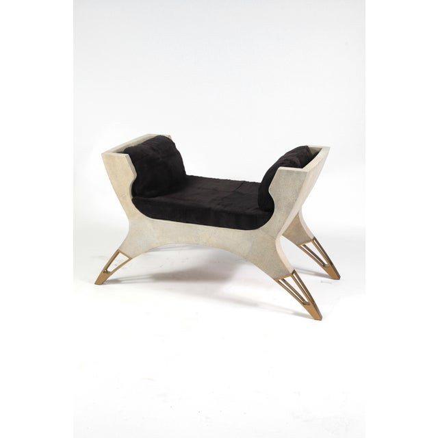 Lord Bench in Black Shagreen and Bronze-Patina Brass by R&y Augousti For Sale In New York - Image 6 of 8