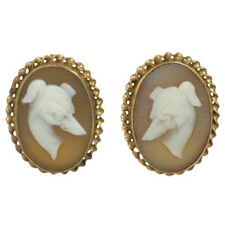 Unusual Victorian Whippet Cameo Earrings For Sale