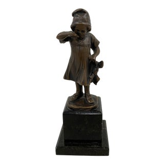 19th Century Miniature Bronze Sculpture of a Young Girl Holding a Doll For Sale