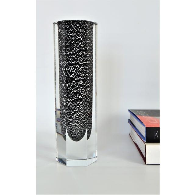 Mandruzzato Italian Murano Sommerso Black & Silver Glass Vase Mid-Century Modern MCM Venetian Venini Millennial - Image 11 of 11