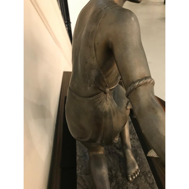 French Art Deco Female Sculpture on Marble For Sale - Image 12 of 13