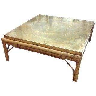 Final Markdown - Regency Bamboo Custom Brass Top Table Sarreid For Sale