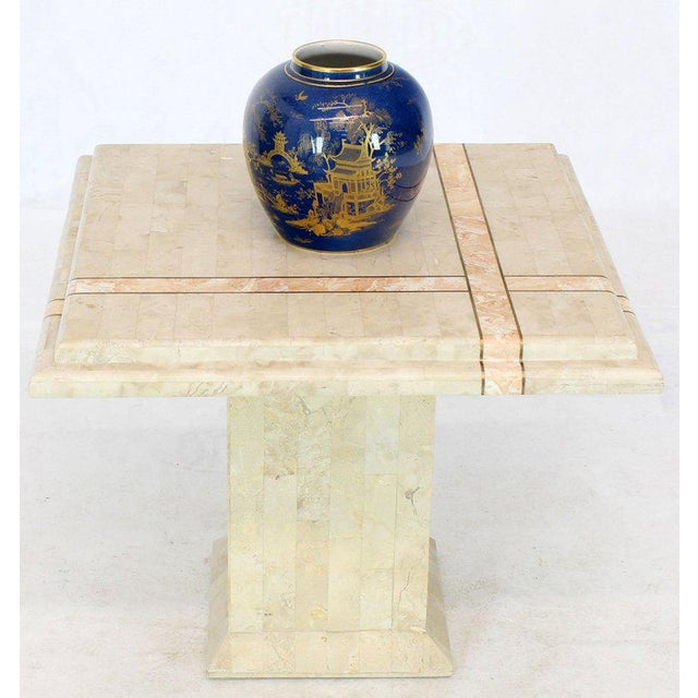 Pair of Tessellated Stone Tile Square Pedestal Shape End Side Tables Stands - a Pair For Sale - Image 4 of 11
