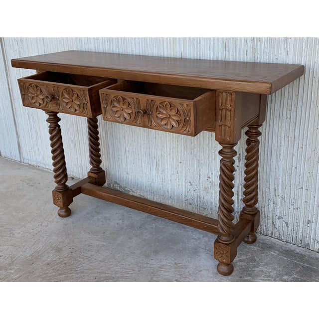 Brown Spanish Baroque Carved Walnut Console Table With Two Drawers, Circa 1860 For Sale - Image 8 of 13