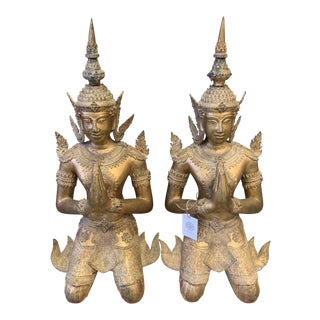 Bronze Gilt Gold Hindu Goddess Statues - a Pair For Sale
