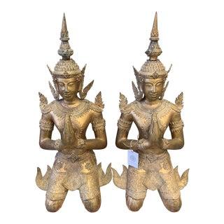 Bronze Gilt Gold Hindu Goddess Statues - a Pair For Sale