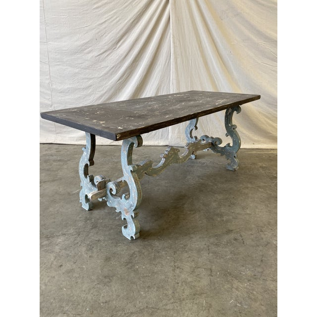 Tuscan Painted Trestle Dining Table For Sale In Austin - Image 6 of 13
