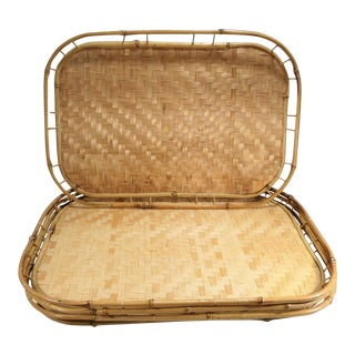 Boho Mid-Century Bamboo Woven Wicker Serving Trays - Set of 4 For Sale