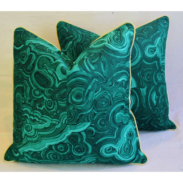 Pair of large custom-tailored pillows in a vintage/never used cotton fabric depicting a rich emerald green malachite...