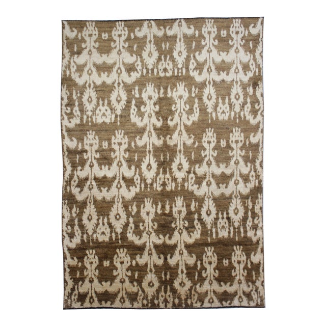 Hand Knotted Modern Ikat Rug - 5′ × 10′5″ For Sale
