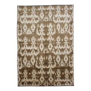 "Hand Knotted Modern Ikat Rug - 7'7"" × 10′5″ For Sale"