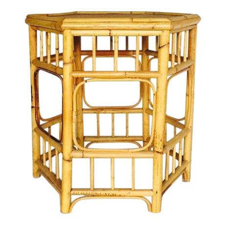 Vintage Bamboo Fretwork Side Table - Image 1 of 7