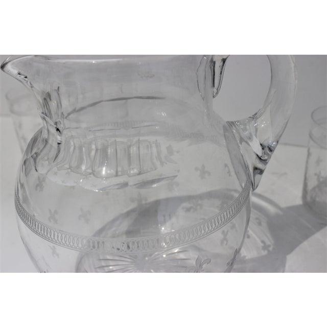 Glass Vintage Fleur De Lis Glass Pitcher and 4 Tumblers Iced Tea Lemonade - a Set For Sale - Image 7 of 13