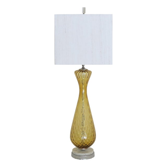 Tall Vintage Murano Glass Lamp on Marble Base - Image 1 of 5
