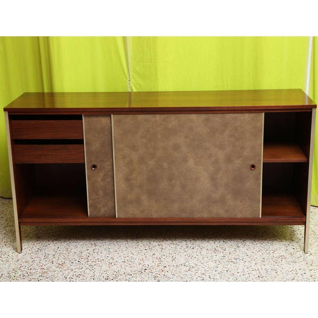 Paul McCobb Calvin Walnut Buffet with Top Cabinet - Image 4 of 8