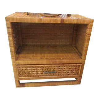 Woven Rattan Single Drawer Side Table For Sale